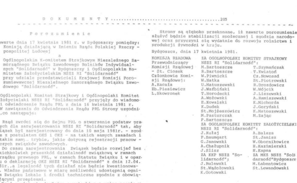 Protokół Porozumienia Bydgoskiego [17.04.1981]