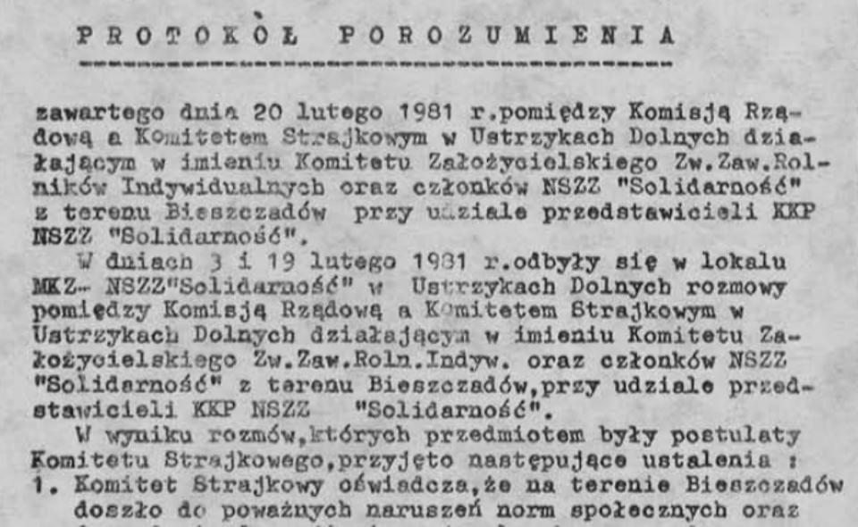 Protokół Porozumienia Ustrzyckiego [20.02.1981]